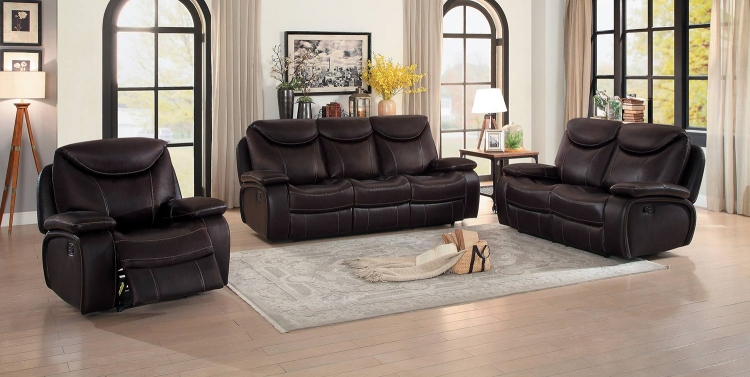 Verkin Double Reclining Sofa Set - Dark Brown