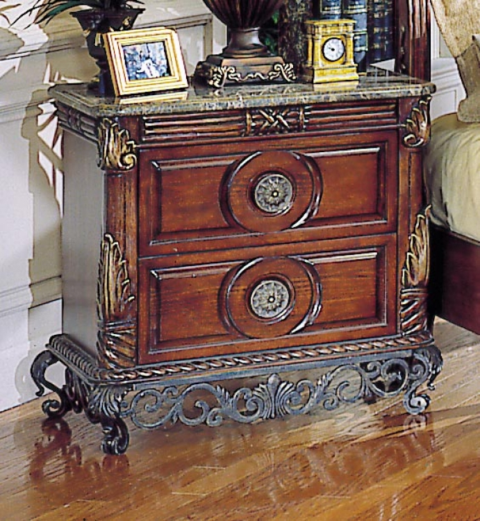 Madrid 2 Drawer Night Stand (Marble Top)