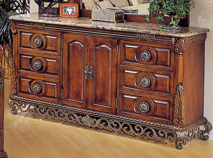 Madrid 6 Drawer 2 Door Dresser (Marble Top)
