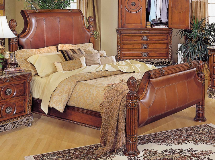 Madrid Leather Bed with Rails