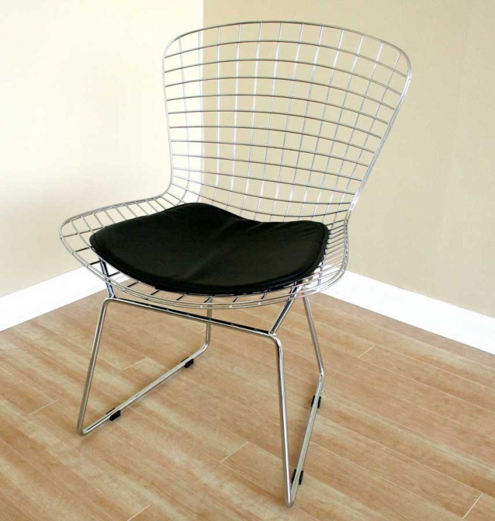 8320 Bertoia Wire Side Chair with Leatherette Seat Pad - Wholesale Interiors