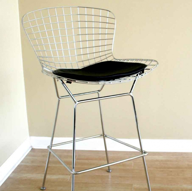 8340 Bertoia Wire Barstool with Leatherette Seat Pad