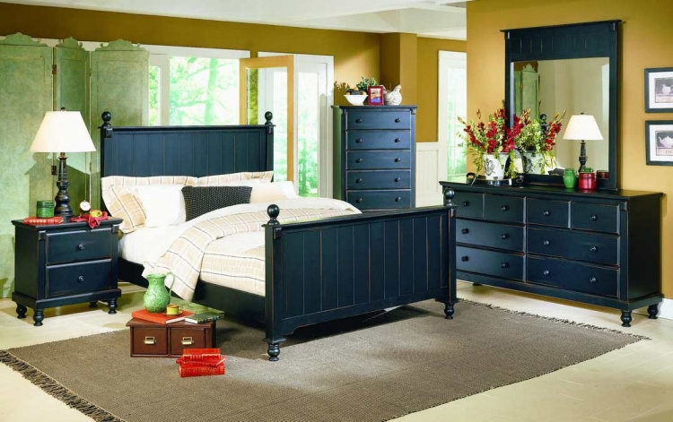 Pottery Bedroom Collection Complete 6 Pcs-Black-Homelegance