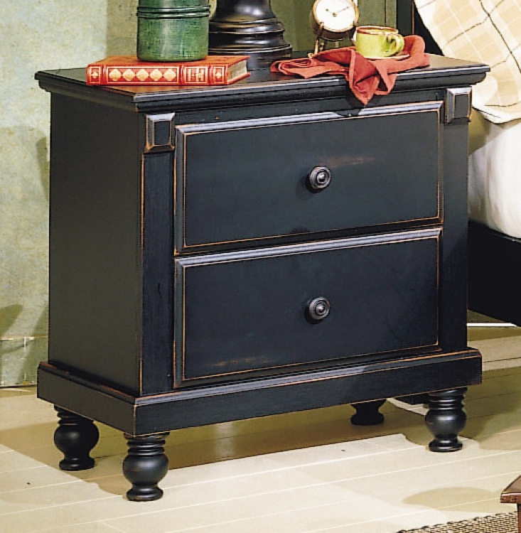Pottery Night Stand Black-Homelegance