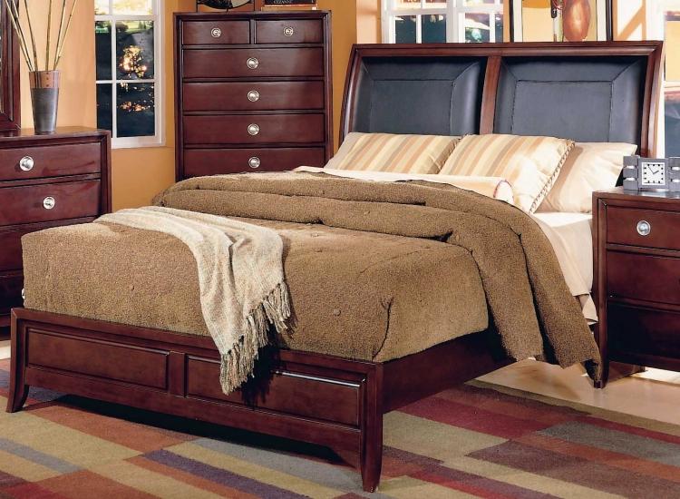 Capria Sleigh Bed Leather Headboard