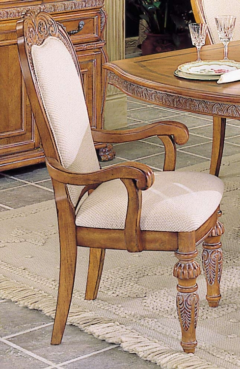 Caspian Armchair with Upholstered Carved Back