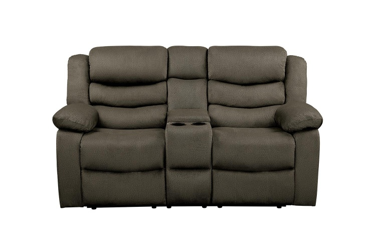 Discus Double Reclining Love Seat with Center Console - Brown