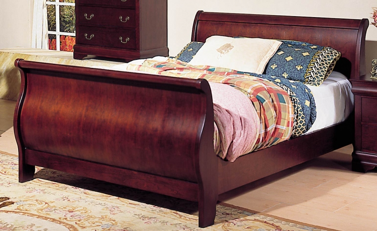 Dijon Sleigh Bed with Rails-Homelegance