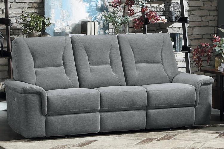 Edelweiss Power Double Reclining Sofa - Metal gray