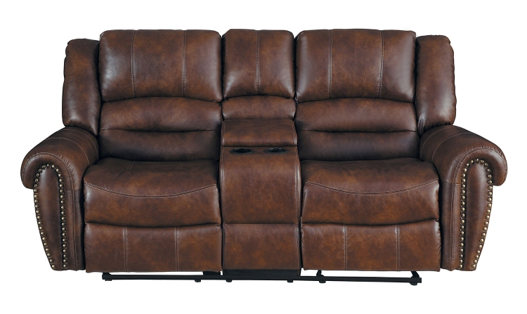 Center Hill Double Glider Reclining Love Seat With Center Console - Dark Brown