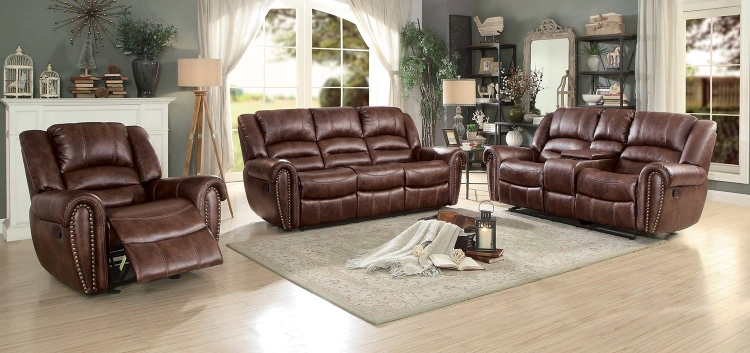 Center Hill Reclining Sectional Set - Dark Brown