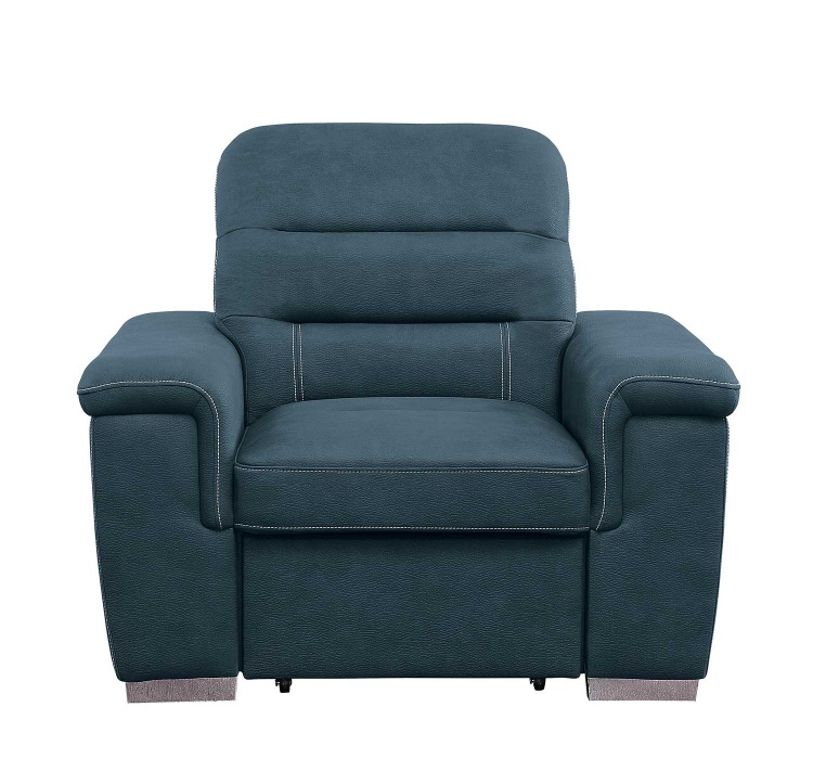 Alfio Chair with Pull-out Ottoman - Blue