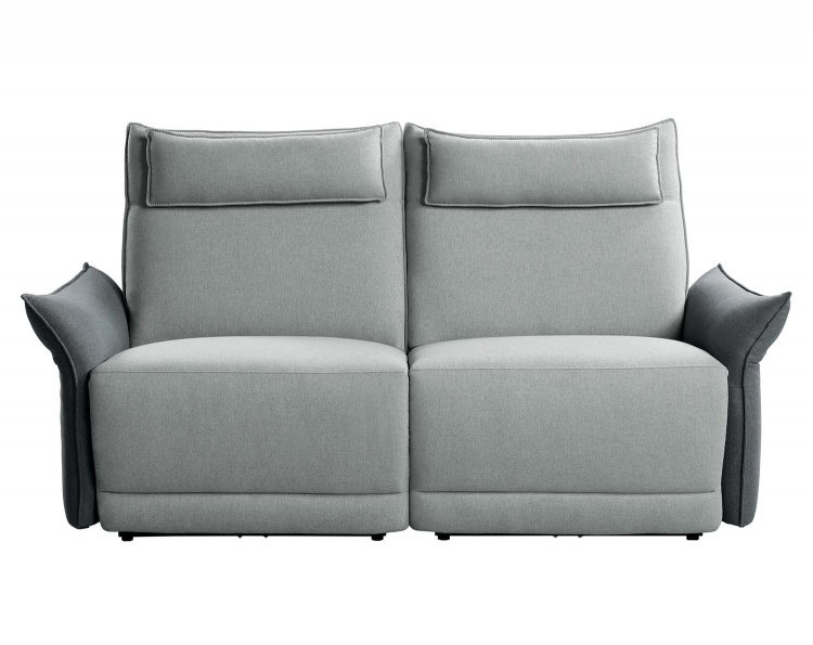 Linette Power Double Reclining Love Seat with Power Headrests - Gray
