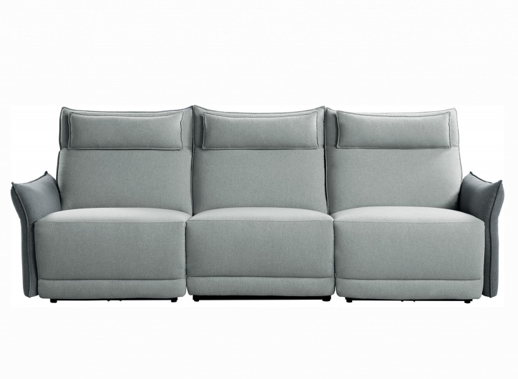 Linette Power Double Reclining Sofa with Power Headrests - Gray