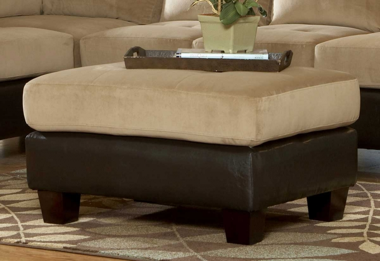 Royce Ottoman in Brown Bella Microfiber-Homelegance