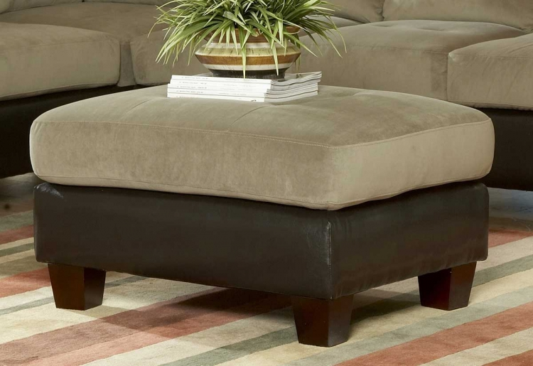 Royce Ottoman in Herbal Bella Microfiber-Homelegance