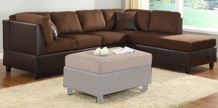 Comfort Living Reversible Sectional - Chocolate Finish - Homelegance