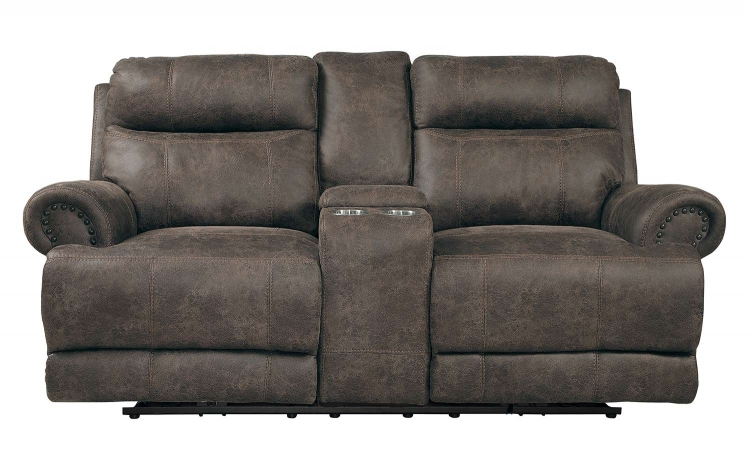 Aggiano Power Double Reclining Love Seat With Power Headrests - Dark Brown