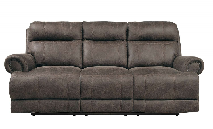 Aggiano Power Double Reclining Sofa With Power Headrests - Dark Brown