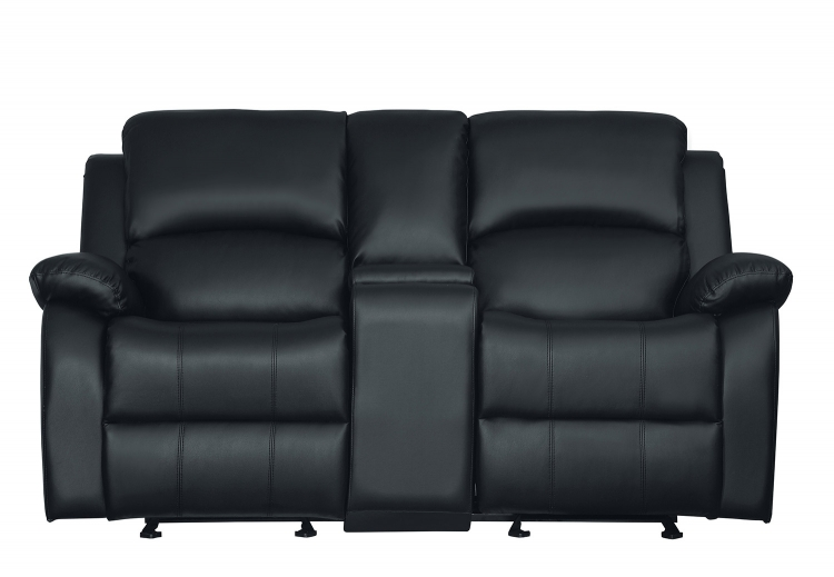 Clarkdale Double Glider Reclining Love Seat With Center Console - Black