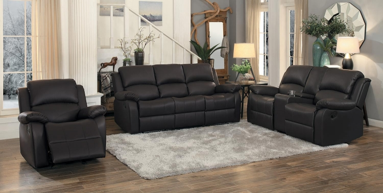 Clarkdale Double Reclining Sofa Set - Dark Brown - Dark brown bi-cast vinyl