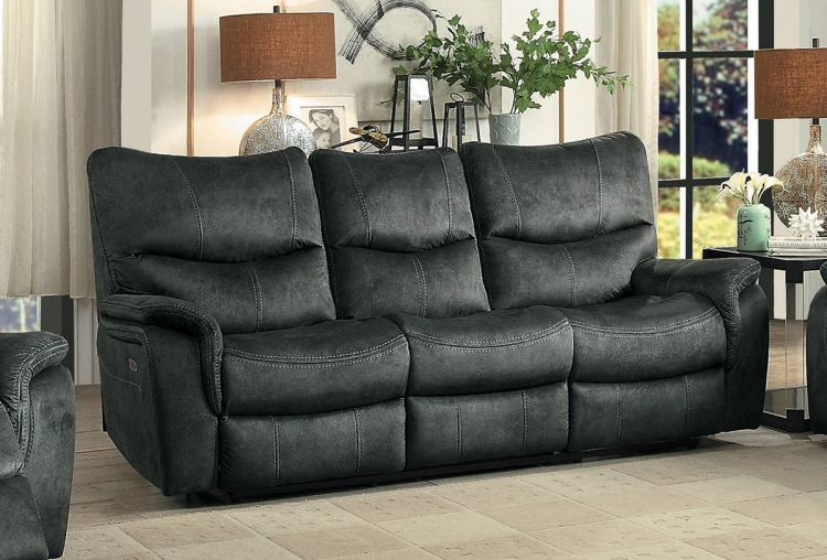 Goby Power Double Reclining Sofa With Power Headrests - Dark Gray