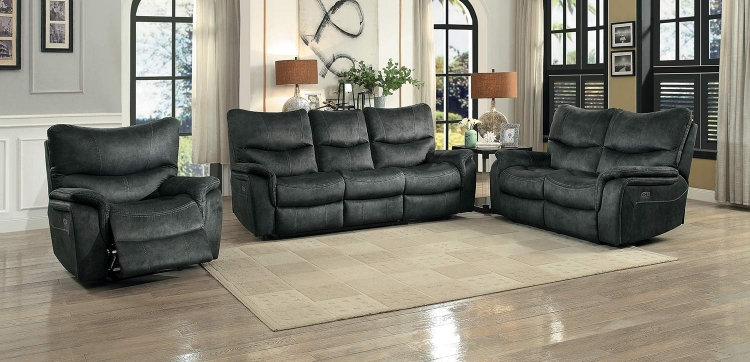 Goby Power Reclining Sofa Set - Dark Gray