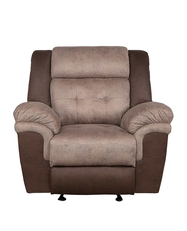 Chai Glider Reclining Chair - Brown and dark brown polished microfiber