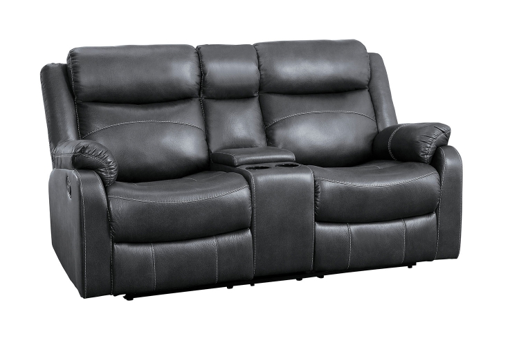 Yerba Double Lay Flat Reclining Love Seat With Center Console - Dark Gray