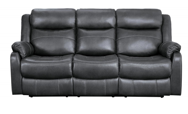 Yerba Double Lay Flat Reclining Sofa With Center Drop-Down Cup Holders - Dark Gray