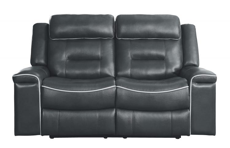 Darwan Double Lay Flat Reclining Love Seat - Dark Gray