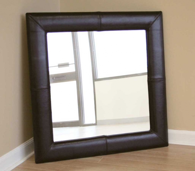 A-60-J001 Square Espresso Brown Leather Mirror - Wholesale Interiors