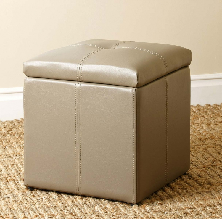 Parker Storage Leather Tufted Ottoman - Grey