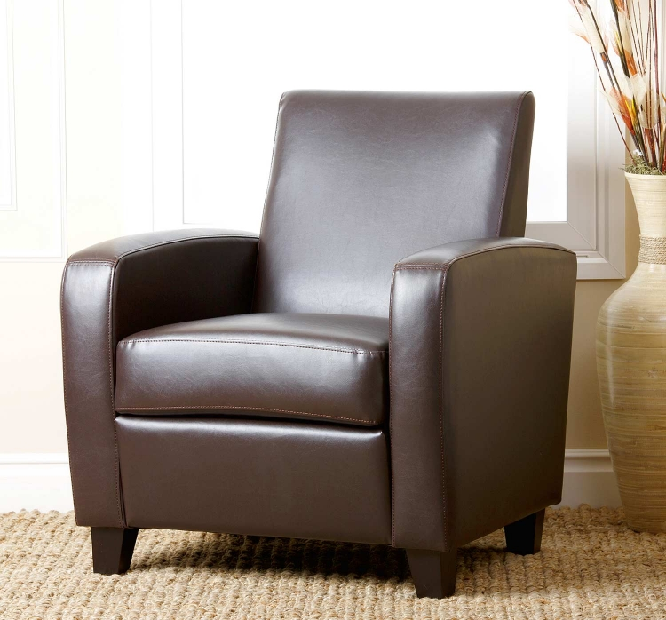 Mercer Bonded Leather Club Chair - Brown
