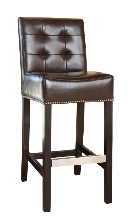 Linden Leather Barstool - Brown