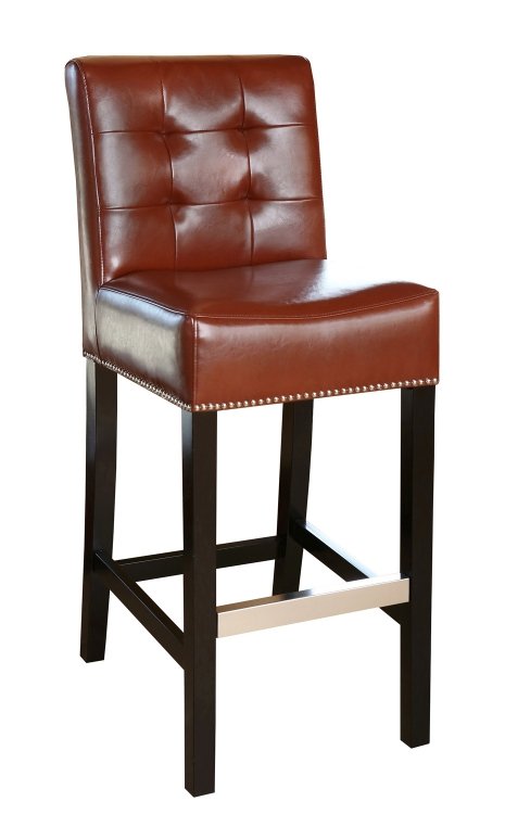 Linden Leather Barstool - Red