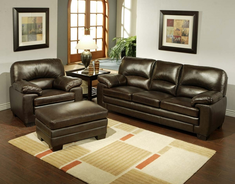 Charleston Italian Leather 3-Piece Sofa, Armchair and Ottoman Set