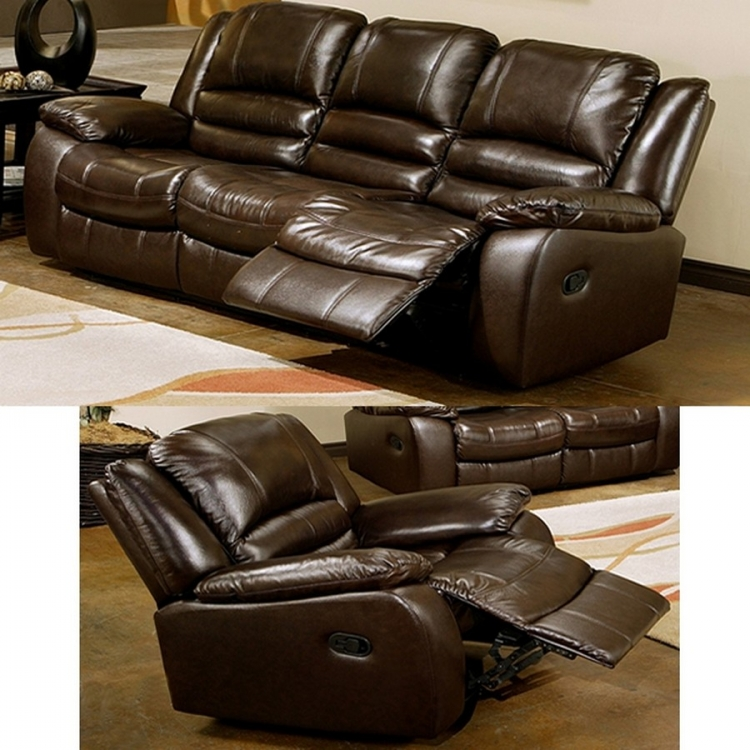 Brownstone 2-Pc Reclining Leather Sofa and Chair Set - Abbyson Living