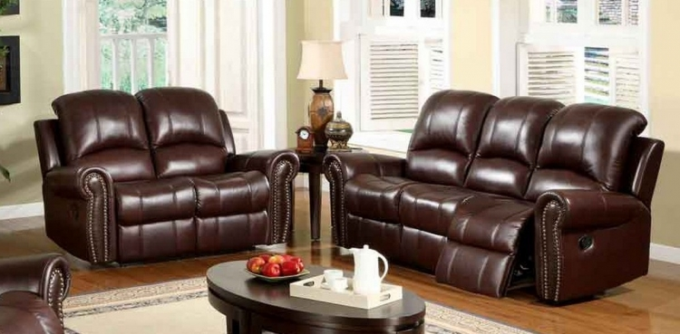 Broadway 2-Pc Reclining Italian Leather Sofa and Love Seat Set