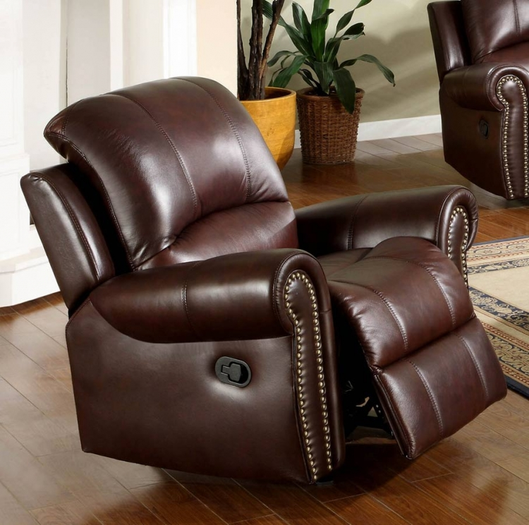 Broadway Reclining Italian Leather Arm Chair - Abbyson Living