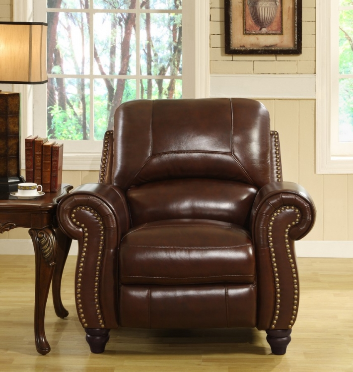 Madison Leather Pushback Reclining Chair - Abbyson Living
