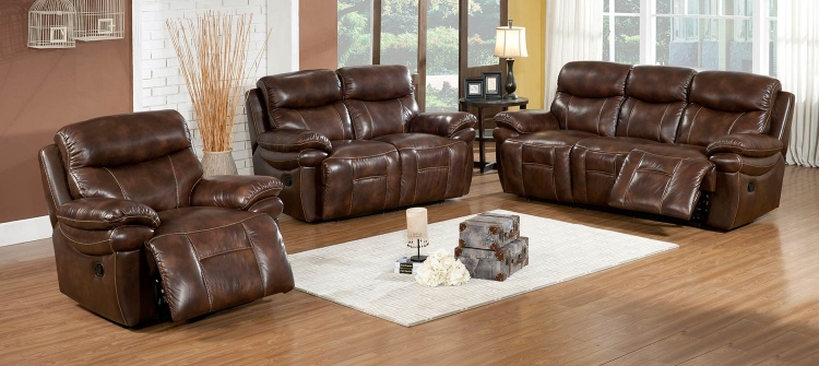 Riley 3-Piece Premium Top Grain Leather Reclining Sofa Set
