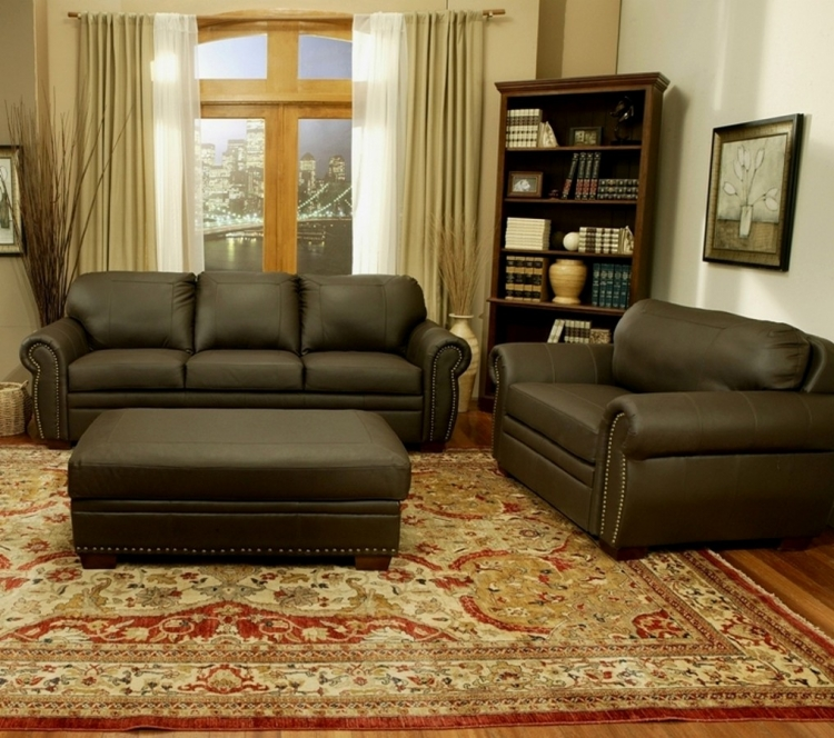 Signature Premium Italian Leather Oversized Sofa - Chair - Ottoman Set - Abbyson Living