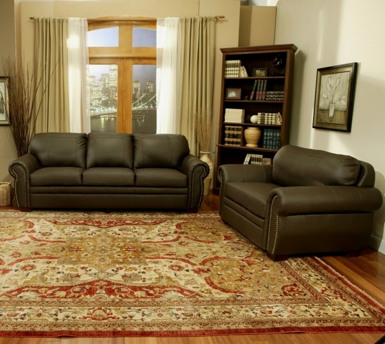 Signature Premium Italian Leather Oversized Sofa and Chair Set - Abbyson Living