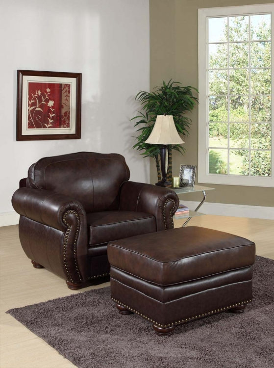 Richfield Premium Italian Leather Armchair and Ottoman Set - Abbyson Living