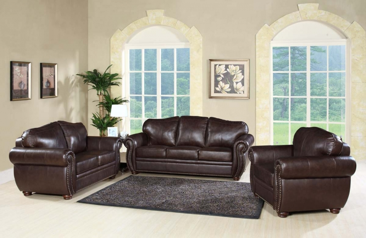 Richfield 3-Piece Premium Italian Leather Sofa, Loveseat and Armchair - Abbyson Living