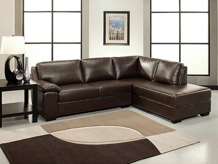 Pearce Dark Brown Bonded Leather Sectional Sofa - Abbyson Living