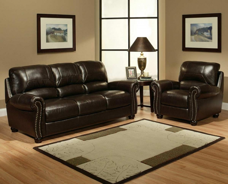 Monaco Italian Leather Sofa and Armchair - Abbyson Living