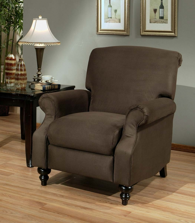 Vienna Dark Brown Microsuede Pushback Recliner - Abbyson Living