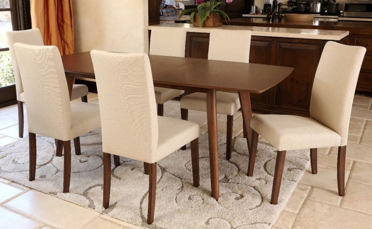 Leonis Walnut Wood Expandable 7 Piece Dining Set - Brown